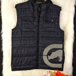 Ecko Unltd Gray & Black Hooded Puffer Vest M